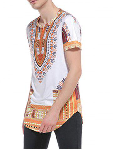 Fancy Short Sleeve Ethnic Style Print Curve Bottom T-Shirt - L YELLOW Mobile