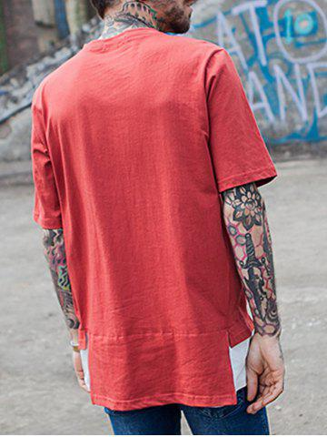 Fashion Faux Twinset Crew Neck Color Block Panel T-Shirt - XL RED Mobile