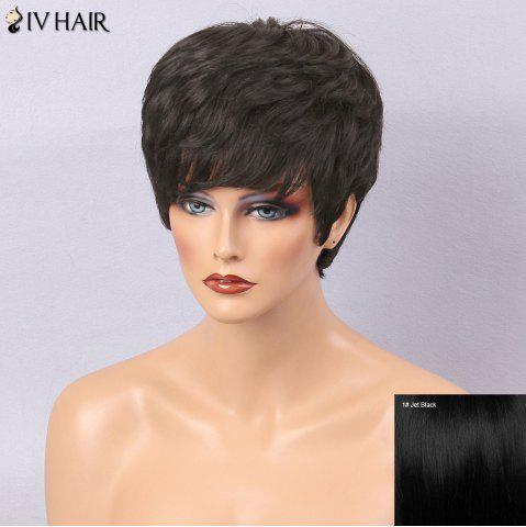 Fancy Siv Hair Textured Layered Side Bang Short Slightly Curly Human Hair Wig - JET BLACK #01  Mobile