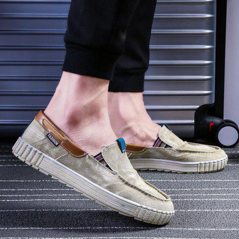 Affordable Stitch Casual Slip On Canvas Sneakers - 40 KHAKI Mobile