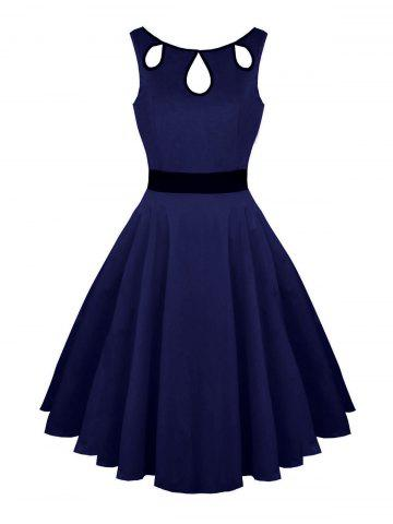 Hollow Out Vintage Skater Dress Bleu Violet M