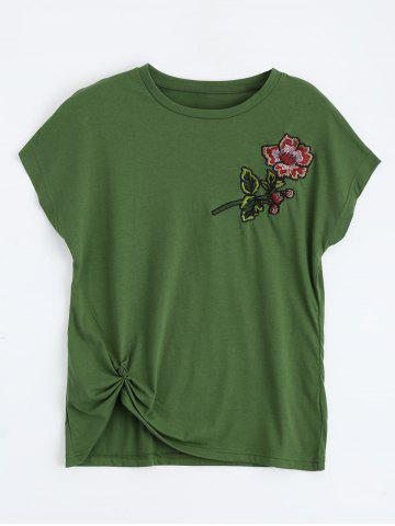 Online Floral Embroidered Front Twist Top DEEP GREEN S