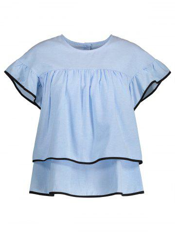 New Ruffled Contrast Piped Blouse BLUE S