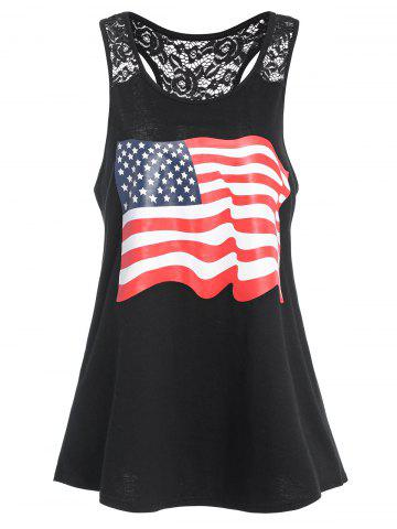 Buy Racerback American Flag Graphic Patriotic Tank Top - XL BLACK Mobile