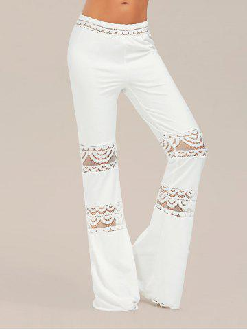 Lace Trim Elastic Waist Flared Pants - White - Xl