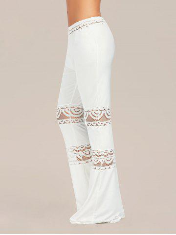 New Lace Trim Elastic Waist Flared Pants - 2XL WHITE Mobile