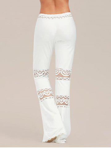 Store Lace Trim Elastic Waist Flared Pants - 2XL WHITE Mobile