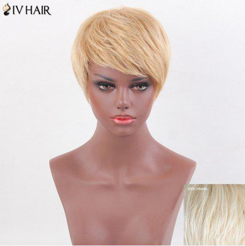 Shop Siv Hair Inclined Bang Straight Short Layered Human Hair Wig - OFF-WHITE  Mobile