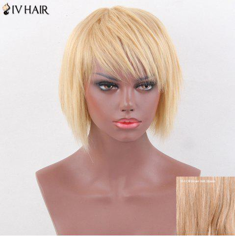 Affordable Siv Hair Pixie Short Oblique Bang Straight Layered Human Hair Wig - BROWN WITH BLONDE  Mobile