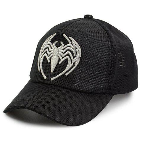 Store Mesh Spliced Spider Embroidered Baseball Hat - ONE SIZE FULL BLACK Mobile