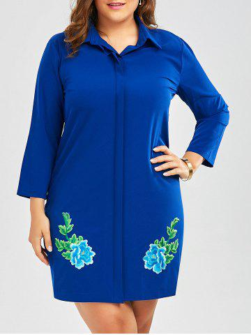 Online Plus Size Embroidered Shirt Dress With Sleeves BLUE 2XL