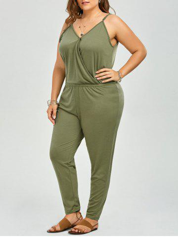 New V Neck Plus Size Spaghetti Strap Jumpsuit - 2XL SAGE GREEN Mobile