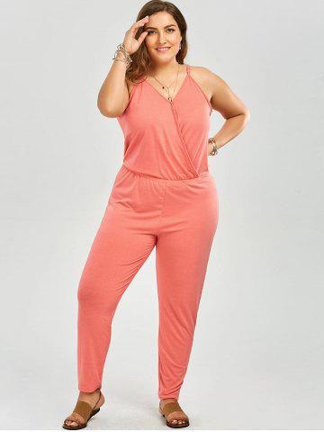 Outfits V Neck Plus Size Spaghetti Strap Jumpsuit - 6XL PINK Mobile