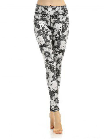 Patterned Active High Waisted Leggings - White - Xl