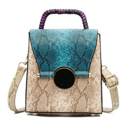 Fancy Snake Pattern Color Block Handbag