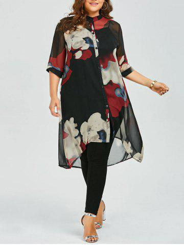Plus Size Printed Chiffon Flowy Tunic Top
