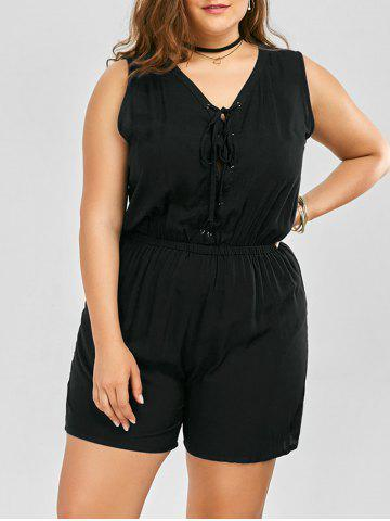Discount Plus Size Sleeveless Lace Up Palazzo Romper - 2XL BLACK Mobile