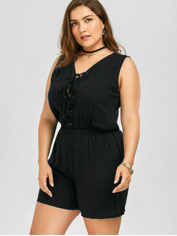 Fancy Plus Size Sleeveless Lace Up Palazzo Romper - 2XL BLACK Mobile