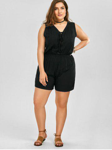 Buy Plus Size Sleeveless Lace Up Palazzo Romper - 2XL BLACK Mobile