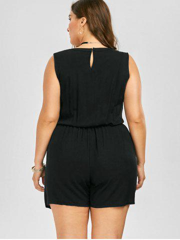 Trendy Plus Size Sleeveless Lace Up Palazzo Romper - 2XL BLACK Mobile