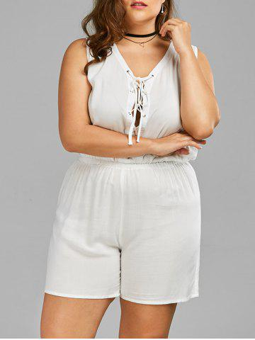 New Plus Size Sleeveless Lace Up Palazzo Romper