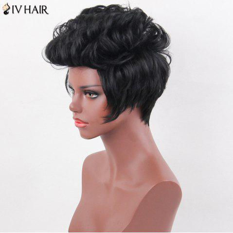 Chic Siv Hair Layered Short Curly Spiky Straight Human Hair Wig - JET BLACK  Mobile