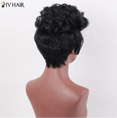 Discount Siv Hair Layered Short Curly Spiky Straight Human Hair Wig - JET BLACK  Mobile