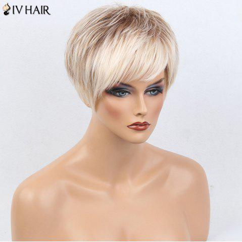 Discount Siv Hair Colormix Short Side Bang Layered Silky Straight Human Hair Wig - WHITE AND BROWN  Mobile