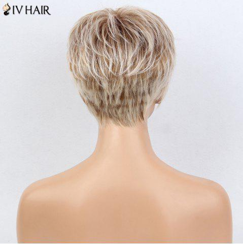 Outfits Siv Hair Colormix Short Side Bang Layered Silky Straight Human Hair Wig - WHITE AND BROWN  Mobile