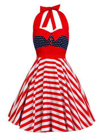 Backless Halter American Flag Vintage Dress Etoile style S