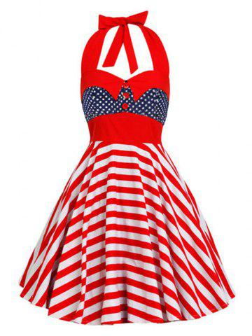 Backless Halter American Flag Vintage Dress Polka Dot L