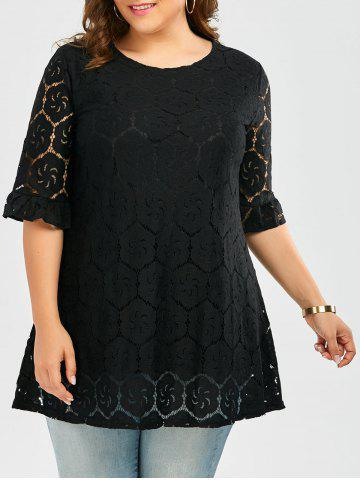 Flounce Bell Sleeve Plus Size Lace Blouse - Black - 5xl