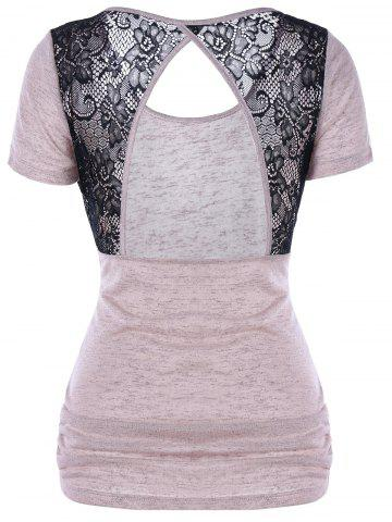 Lace Panel Sheer Open Back T-Shirt - Shallow Pink - 2xl
