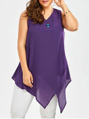 Affordable Plus Size Sleeveless V Neck Asymmetric Tank Top DEEP PURPLE 3XL