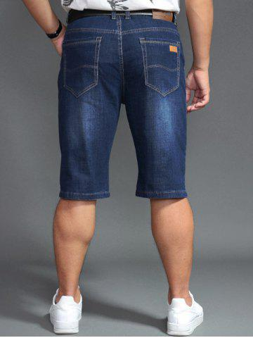 Unique Plus Size PU Label Design Denim Shorts - 44 DENIM BLUE Mobile