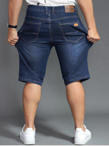 Fashion Plus Size PU Label Design Denim Shorts - 44 DENIM BLUE Mobile