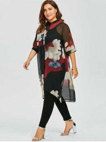 Sale Plus Size Button Up Printed Chiffon Flowy Tunic Top - 3XL RED Mobile