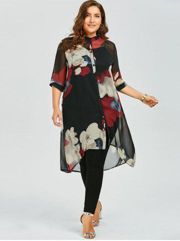 Cheap Plus Size Button Up Printed Chiffon Flowy Tunic Top - 3XL RED Mobile