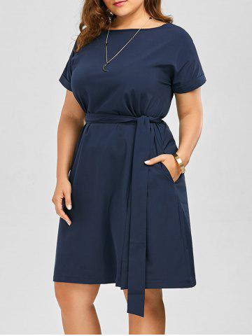 e48313b24b Plus Size Belted Knee Length A Line Dress With Pocket