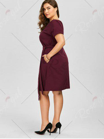 New Plus Size Belted Knee Length A Line Dress With Pocket - 2XL WINE RED Mobile