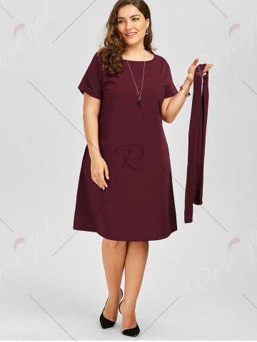 Affordable Plus Size Belted Knee Length A Line Dress With Pocket - 2XL WINE RED Mobile