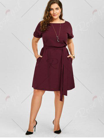 Cheap Plus Size Belted Knee Length A Line Dress With Pocket - 2XL WINE RED Mobile