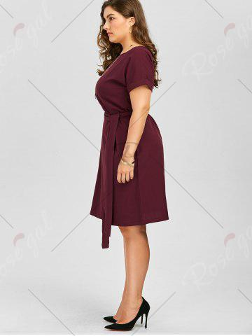Trendy Plus Size Belted Knee Length A Line Dress With Pocket - 2XL WINE RED Mobile