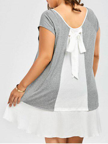 Fashion Plus Size Bowknot Decorated Flapper Tee Dress GREY AND WHITE 5XL