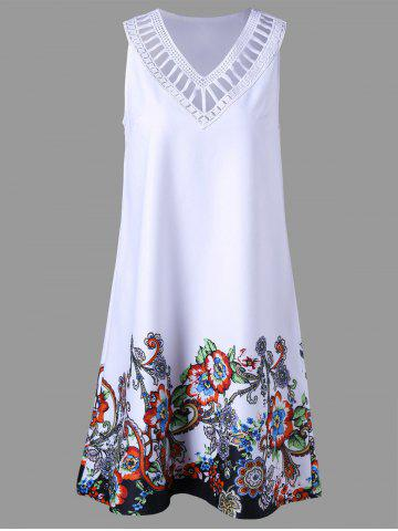 Buy Floral Sleeveless Ladder Detail Dress WHITE 2XL