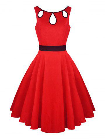 Hollow Out Vintage Skater Dress Rouge 2XL