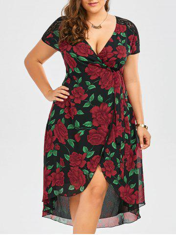 Fancy Plus Size Floral Print Tea Length Wrap Dress BLACK 2XL