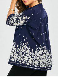 Plus Size Floral Button Wrinkle Long Top