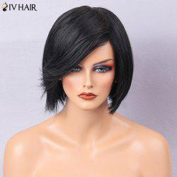Siv Hair Inclined Bang Straight Short Bob Human Hair Wig - JET BLACK #01