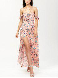 Off The Shoulder Floral Maxi Slit Dress